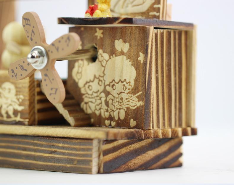 PINSU Đồ trang trí bằng gỗ Mới nóng sáng tạo phim hoạt hình chim nhảy nhạc cối xay gió hộp nhạc bằng