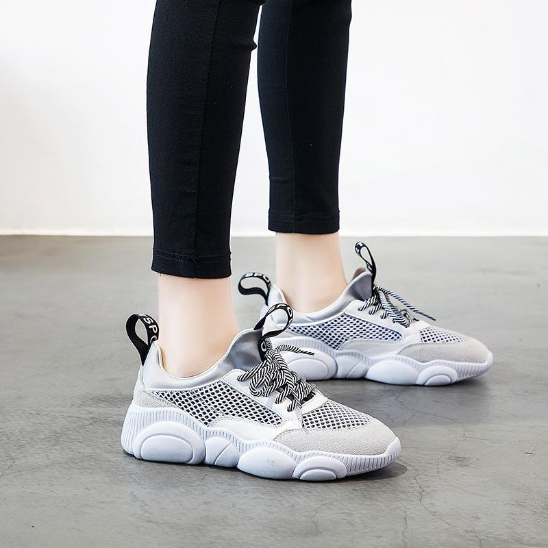 YIDIANLIANG Giày lưới Mùa xuân 2019 mới giản dị ren thể thao bằng da lưới mặt thấp hoang dã để giúp