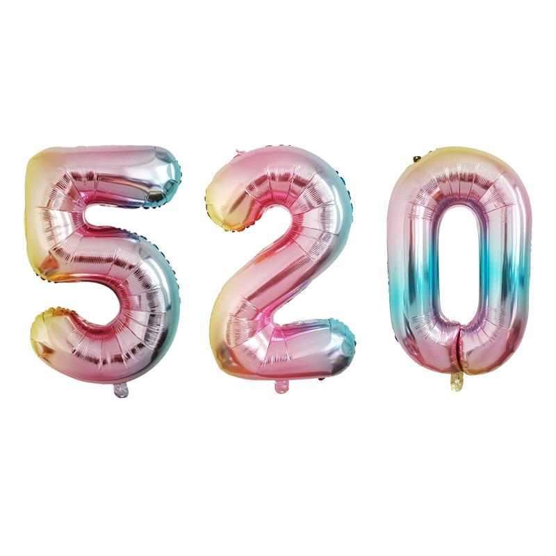 TIANYUAN Bong bóng kỹ thuật số 32 inch tiệc sinh nhật bố trí đám cưới màu gradient cơ thể nhôm bóng