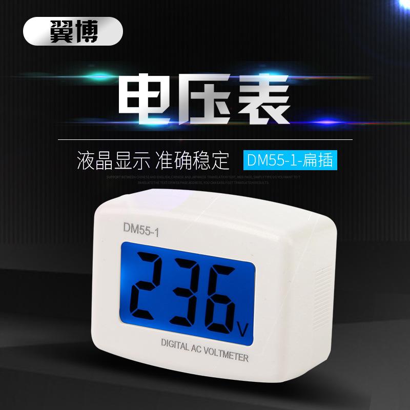 LEXIN Đồng hồ đo lường Wing Bo Electric DM55-1 phích cắm tròn hiển thị kỹ thuật số vôn kế AC100-300V