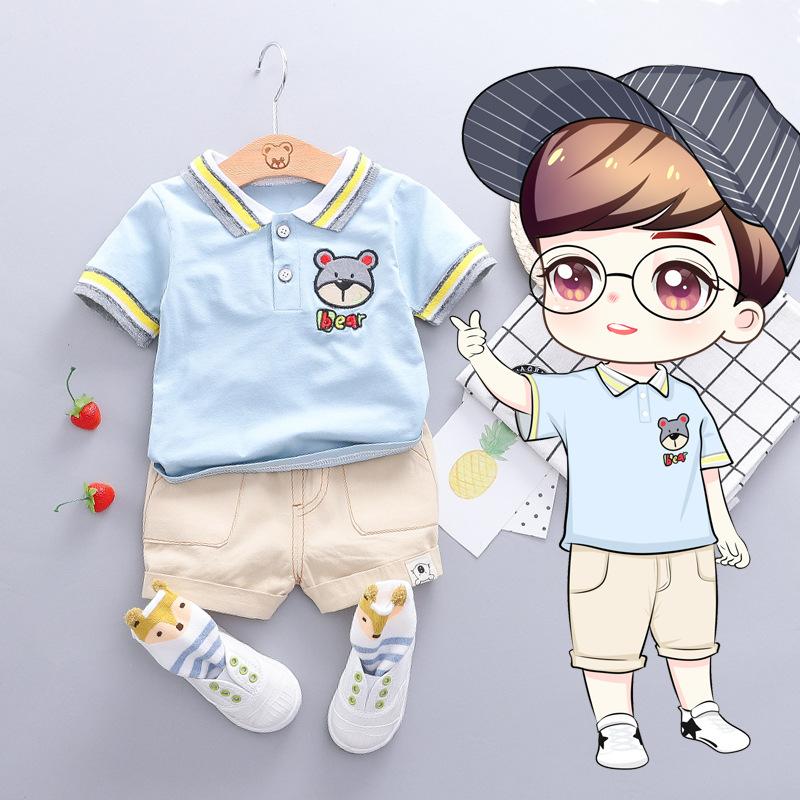 THZJ Phong cách Hàn Quốc Bé trai hoạt hình gấu họa tiết gấu tay ngắn Áo lót hai dây trẻ em mùa hè ph