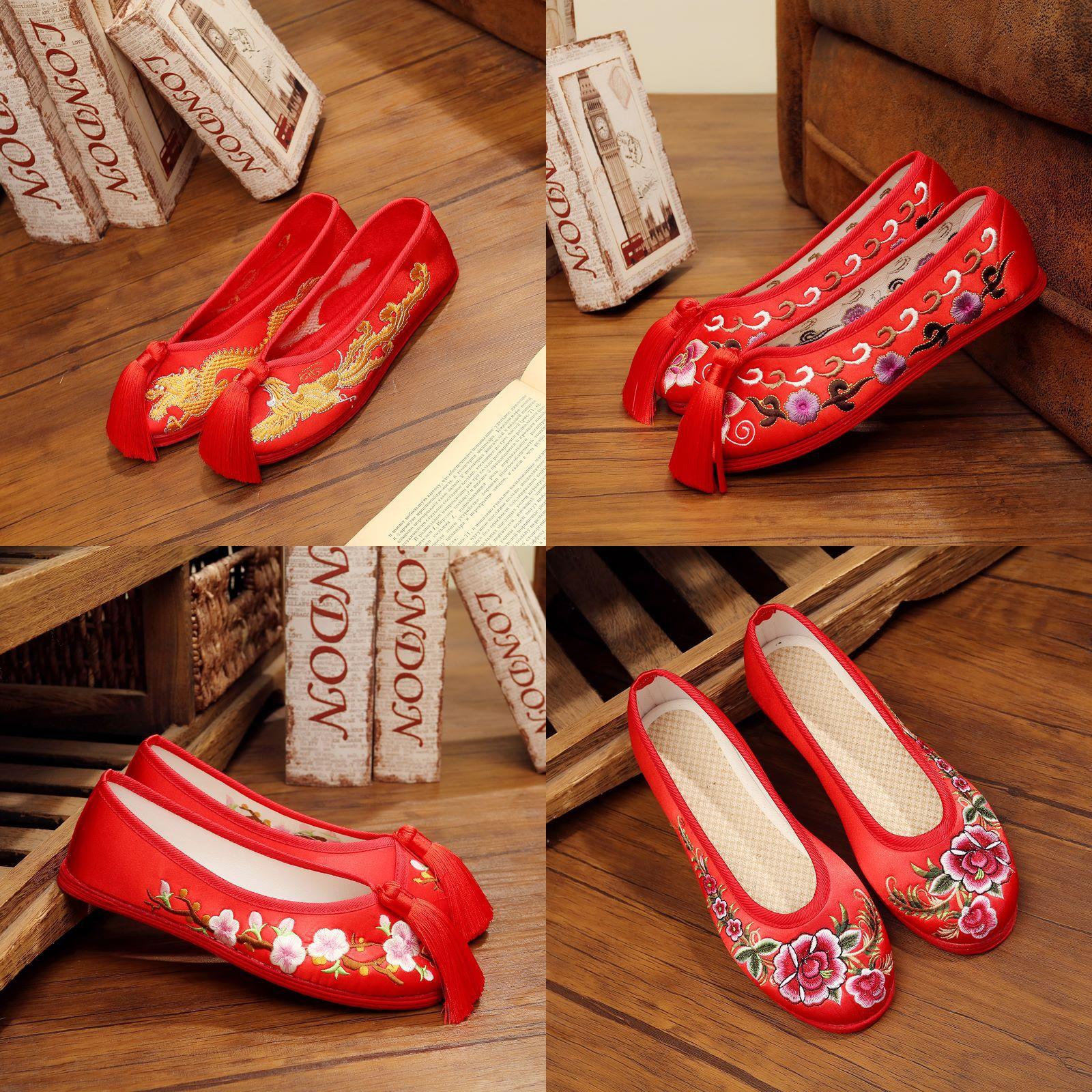 Giày cô dâu Một thế hệ giày cô dâu, giày cưới thêu tay, trình diễn màu đỏ, giày, hàng ngàn lớp, giày