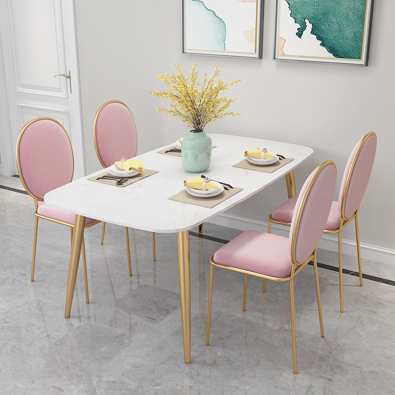 SHUJU Nội thất Nhà hàng đá cẩm thạch Bắc Âu bàn ăn và ghế sắt rèn căn hộ nhỏ nhà bàn ăn khách sạn bà