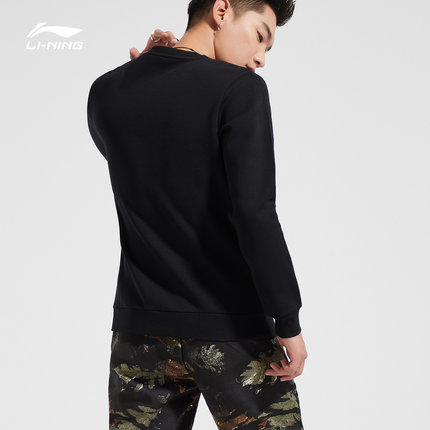 Sweater (Áo nỉ chui đầu)  Li Ning áo len nam mới thể thao loạt thời trang áo thun cổ tròn áo len thể
