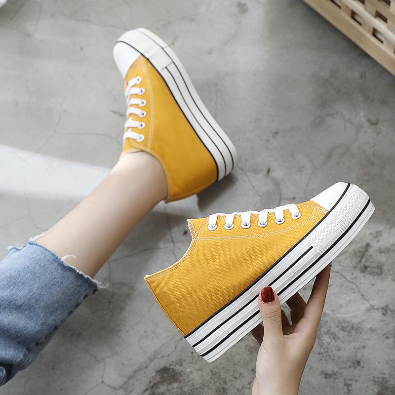 JIANLE Giày tăng chiều cao Âm nhạc sức khỏe tăng giày vải Nữ sinh viên phiên bản Hàn Quốc của giày t