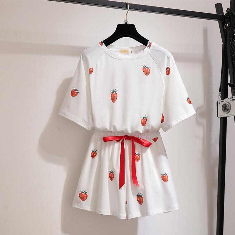 Transfortegy Đồ Suits 300 kg kích thước lớn của phụ nữ béo mm2019 bộ đồ ngủ mùa hè dâu tây Phiên bản