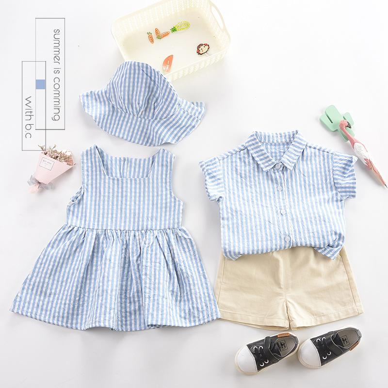 Thị trường trang phục trẻ em Trẻ em mặc một thế hệ 2019 mùa hè mới cho trẻ em kẻ sọc phù hợp với quầ