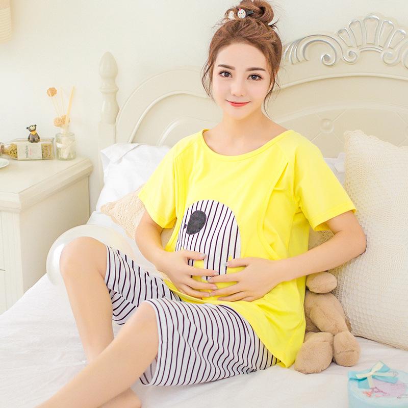 Trang phục trong tháng (sau sinh) Quần áo trăng mùa hè ngắn tay cotton cho bà bầu sau sinh cho con b