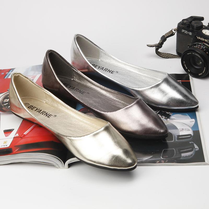 BEYARNE Giày FuJian Giày nữ mới của Beyani, đế mềm bằng da mềm, giày mùa thu, giày đế bằng, giày mũi