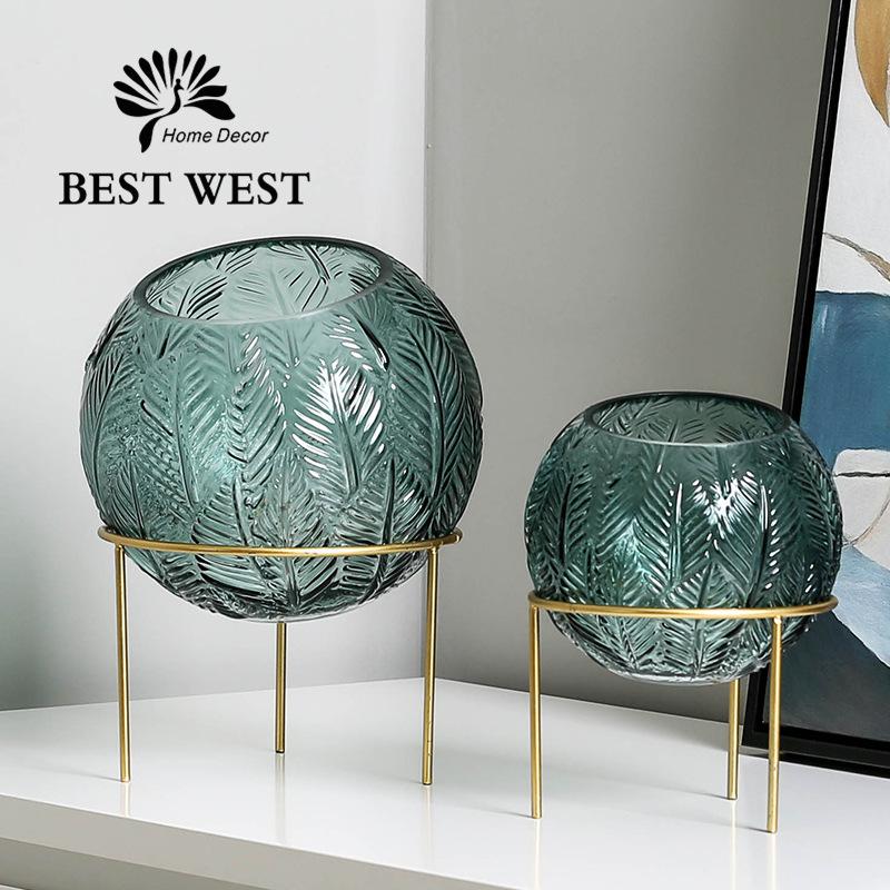 BEST WEST Bình bông Mới phun trong suốt màu xanh lá cây Bixuan khoanh tròn ba chân sắt khung hoa văn