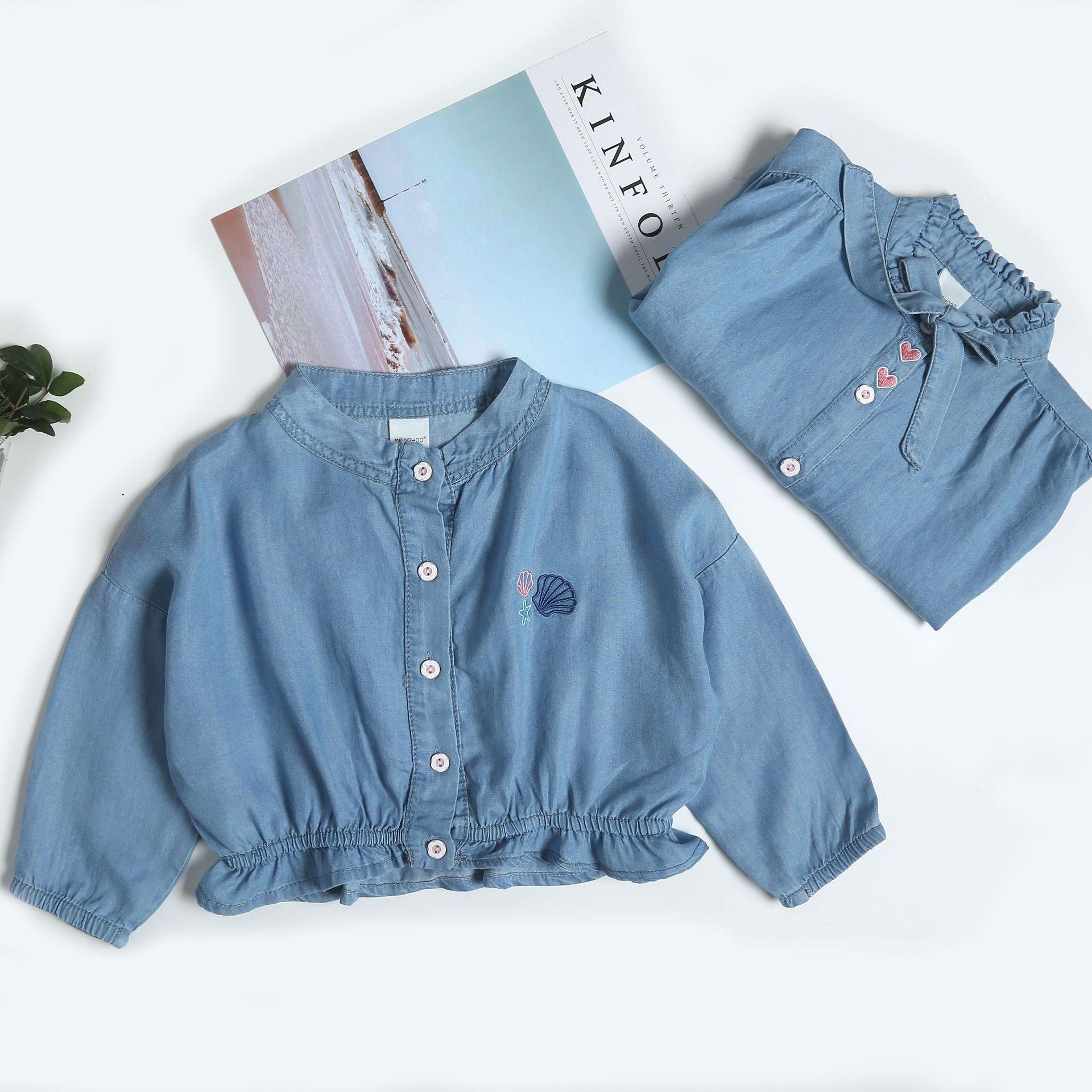 Trang phục Jean trẻ em Mùa xuân 2019 trẻ em mới trẻ em áo len denim cô gái thêu tình yêu áo khoác de