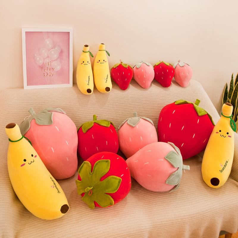 Búp bê vải Nhà máy bán buôn dễ thương chuối sang trọng đồ chơi mềm trái cây búp bê trẻ em búp bê quà