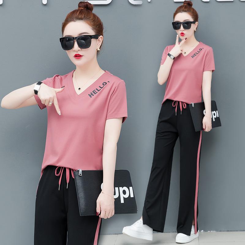 Đồ Suits Bộ đồ thể thao nữ mùa hè 2019 mới dành cho nữ phiên bản Hàn Quốc giản dị của quần ống rộng