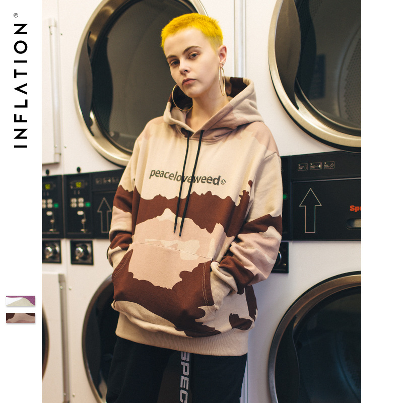 Inflation Sweater (Áo nỉ chui đầu) Quần áo nam INF | 2019 xuân mới ngụy trang châu Âu và Mỹ in áo le
