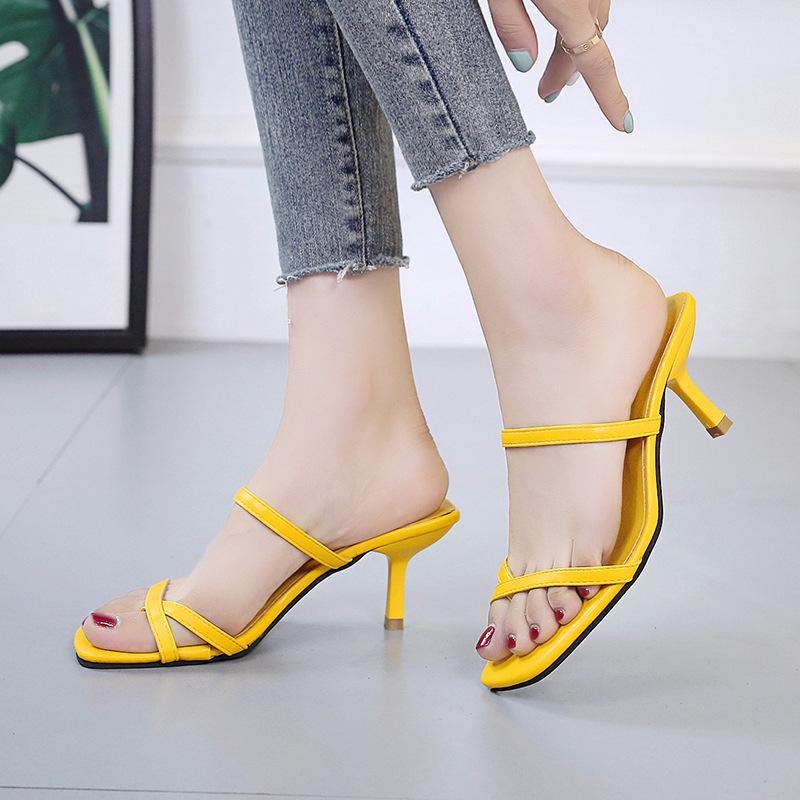 ZHUOMEI Giày tăng chiều cao Dép nữ và dép thời trang mang giày cao gót hè 2019 lưới đỏ kéo nữ đi biể