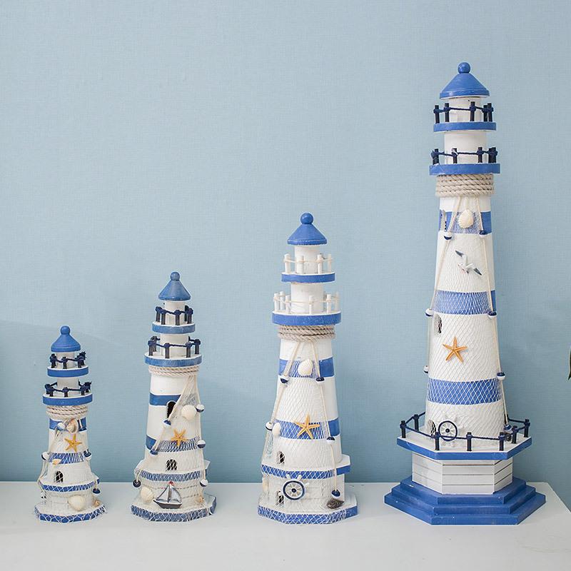 HAIYANG Đồ trang trí bằng gỗ Sọc xanh và trắng bánh lái lớn ngọn hải đăng ngọn hải đăng ngọn hải đăn