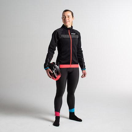 Trang phục xe đạp  Decathlon nữ mùa thu và mùa đông đi xe đạp phù hợp với tay áo dài cộng với nhung