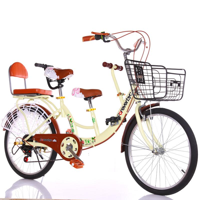 FOREVERBYC xe đạp Bán hàng trực tiếp Xe đạp 24 inch 22 inch cha mẹ và trẻ em Xe hơi đôi nam nữ chuyể