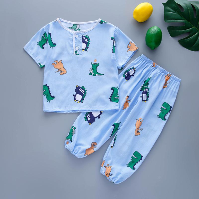 Đồ ngủ trẻ em Bộ điều hòa không khí cho bé bộ đồ mỏng mùa hè quần ngắn tay đèn lồng quần cotton lụa