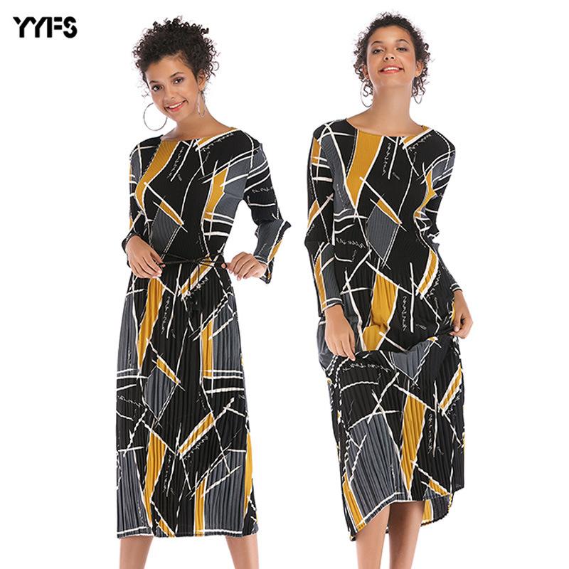 YYFS tay dài Quần áo nữ xuyên biên giới, một thế hệ váy tương phản hình học châu Âu và Mỹ, váy voan