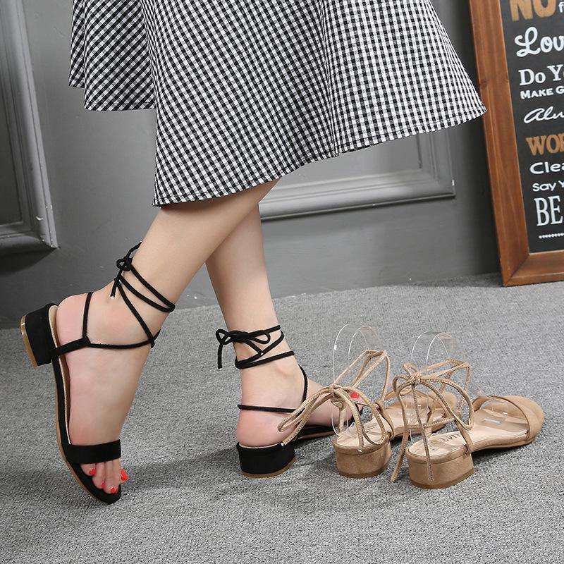 LVTI thắt dây Cỡ lớn cộng với quai rộng chất béo với sandal nữ giữa với 2019 mới giày nữ mùa hè hoan