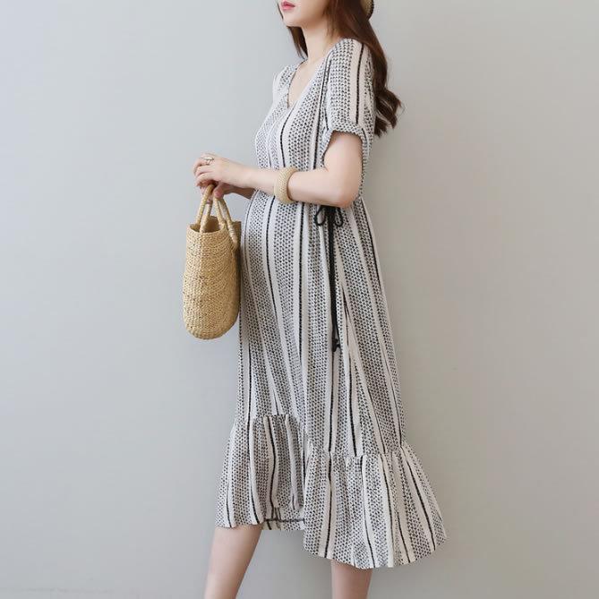 TAOYIN Trang phục bầu 9149 # 19 Phụ nữ mang thai váy dài mùa hè bà bầu váy ngắn tay trong váy bà bầu