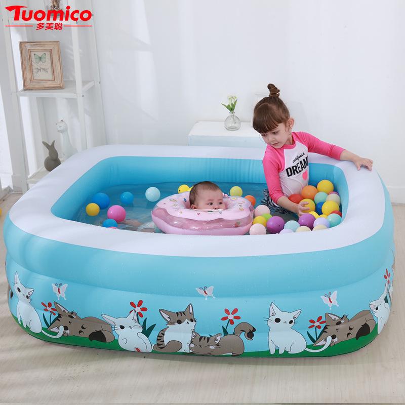 DUOMEICONG bể bơi trẻ sơ sinh Trẻ em bể bơi bơm nước thể thao đồ chơi gia đình bé hồ bơi bơm hơi