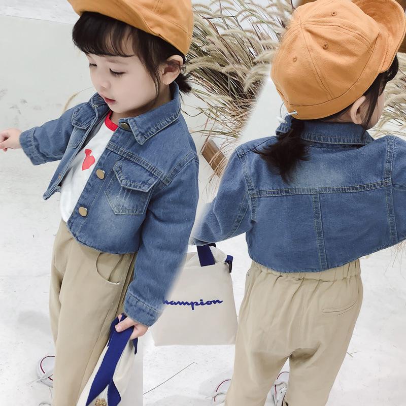Trang phục Jean trẻ em Cô gái ngắn denim áo khoác cotton 2019 mùa xuân mới quần áo denim đại dương q