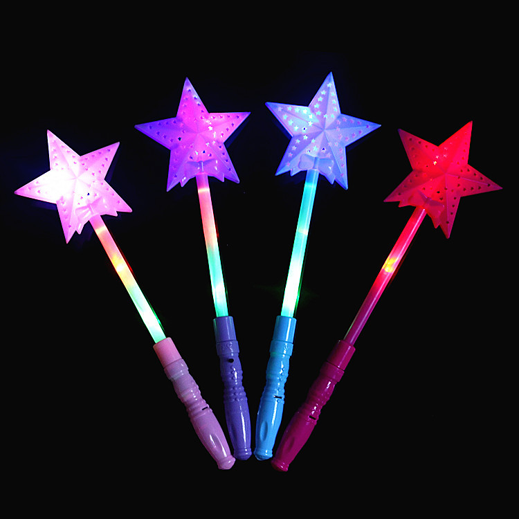 ZPJJ Đồ chơi phát sáng Chiếu sáng ngôi sao ma thuật năm cánh đũa đầy màu sắc flash flash que rỗng bu