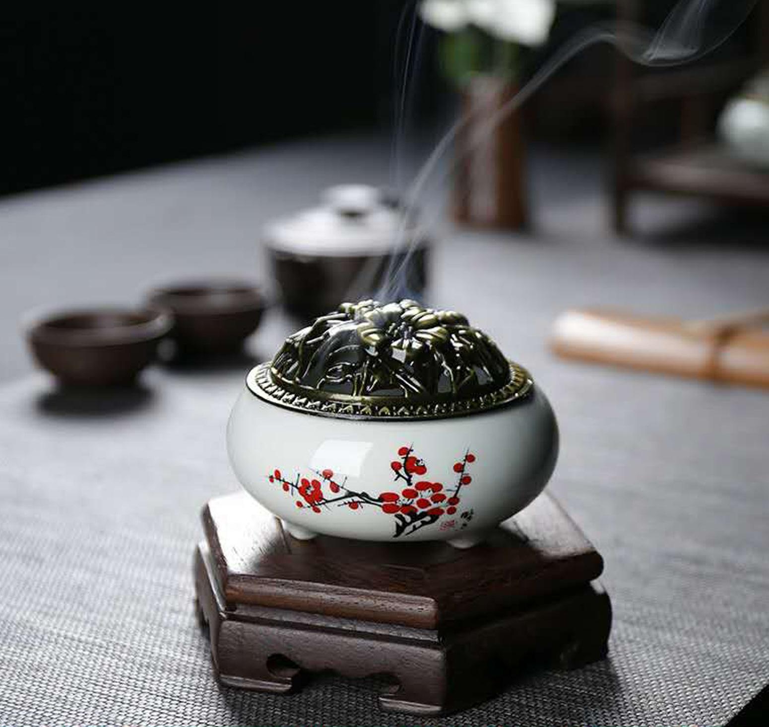 ZHENYIXIANG Lư hương Celadon hương đốt retro gốm gia đình món ăn hương gỗ đàn hương lò gốm ngang dòn