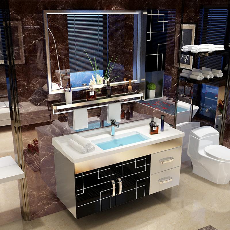 YIDA Tủ phòng tắm Inox kết hợp tủ phòng tắm vanity phòng tắm đơn giản hiện đại chậu rửa chậu rửa chậ