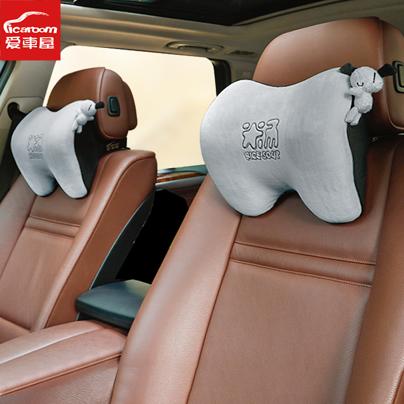 AICHEWU Gối đầu xe hơi Bộ nhớ xe cotton tựa đầu phim hoạt hình Xe cổ gối ghế tựa đầu phụ kiện xe hơi