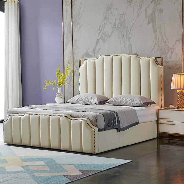 LANFENG Giường ngủ bọc da đỏ ánh sáng, giường sang trọng kiểu Hồng Kông hậu hiện đại, căn hộ khách s