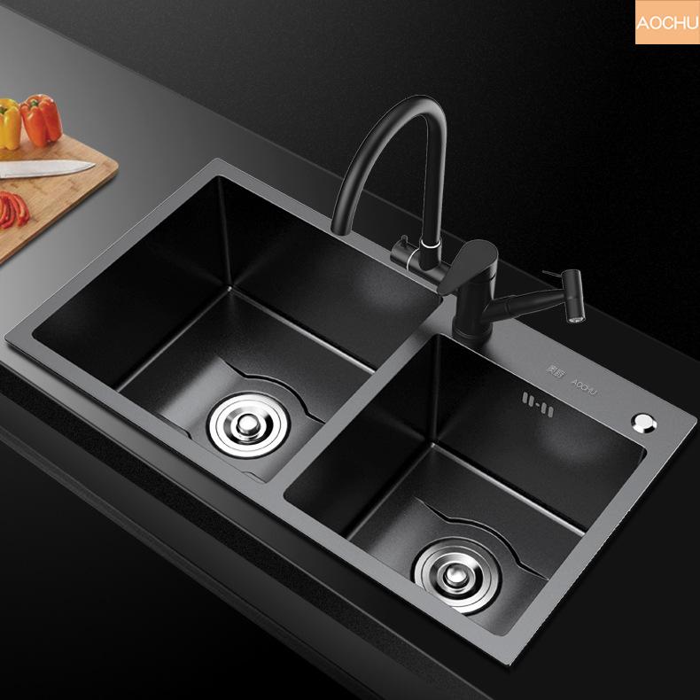 Bồn rửa tay bằng thép không gỉ màu đen nano 304 bồn rửa chén đôi chậu rửa chén dày 201
