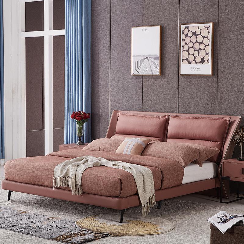 XIAOLANXIONG giường Ý tối giản lớp đầu tiên da giường da giường ngủ chính đơn giản hiện đại 1,8 m án