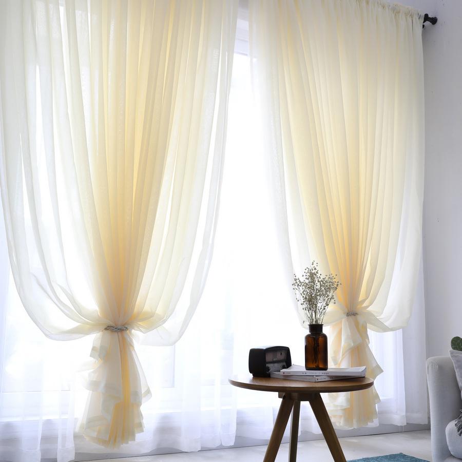 rèm thuỷ tinh Cây gai chéo đầy đủ Dolly Terry sill rèm cửa sổ màu sắc tinh khiết hoàn thành rèm vải