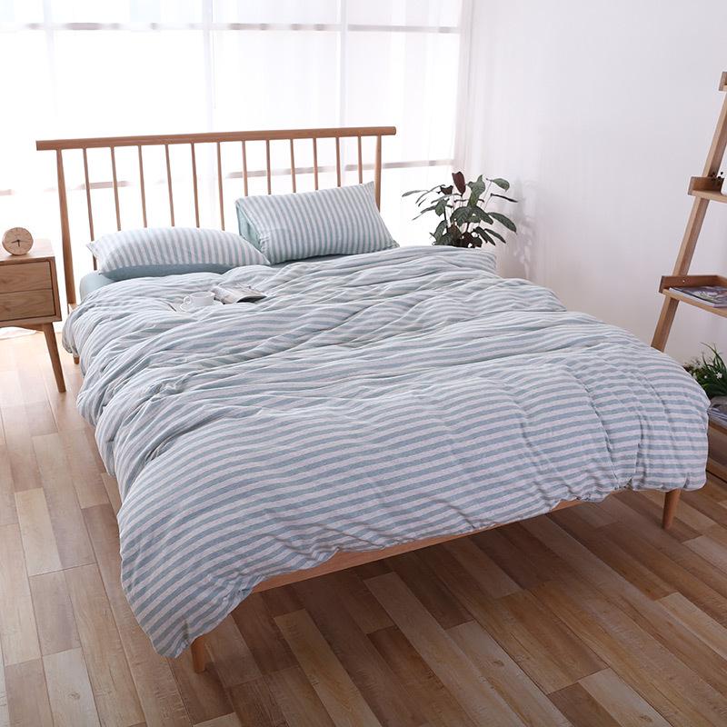 QINGJIUFANG Thị trường đồ bộ Khăn trải giường bằng vải cotton dệt kim sọc bốn mảnh kiểu Nhật Bọ Cạp