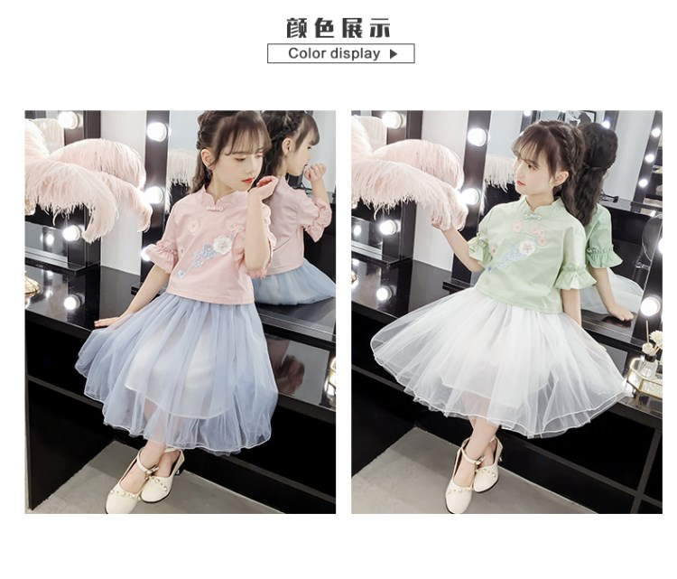 Suit Girls'Dresses and Girls' Skirts New National Style Hanzhou Dresses and Girls'Dresses