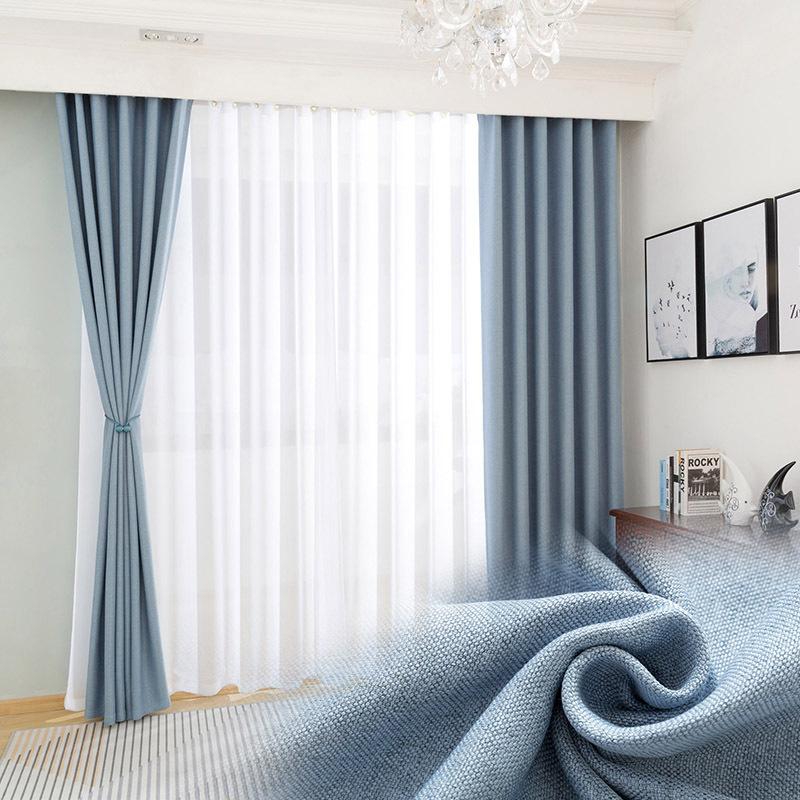 Thị trường trang trí nội thất Rèm vải nhung trơn màn cửa đơn giản vải bóng cao lanh khách sạn kỹ thu