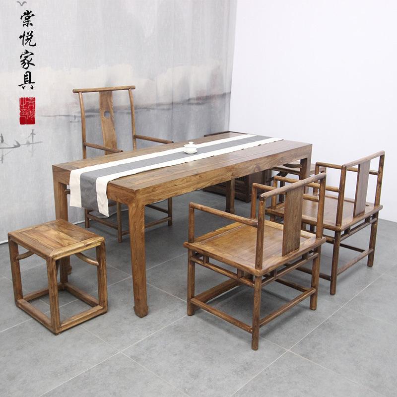 TANGYUE thị trường nội thất , đèn Bàn trà Trung Quốc mới kết hợp bàn trà Zen bàn cũ elm bàn trà bàn