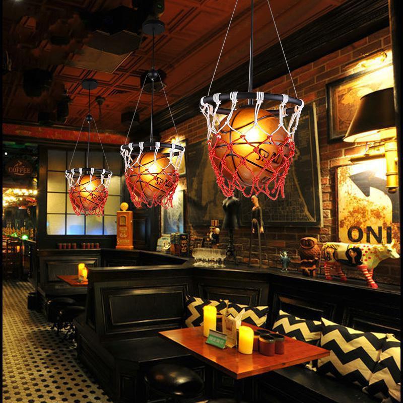 YIWEIEN Đèn treo trần Đèn chùm retro bóng rổ Mỹ cá tính sáng tạo nhà hàng sân vận động cửa hàng thể