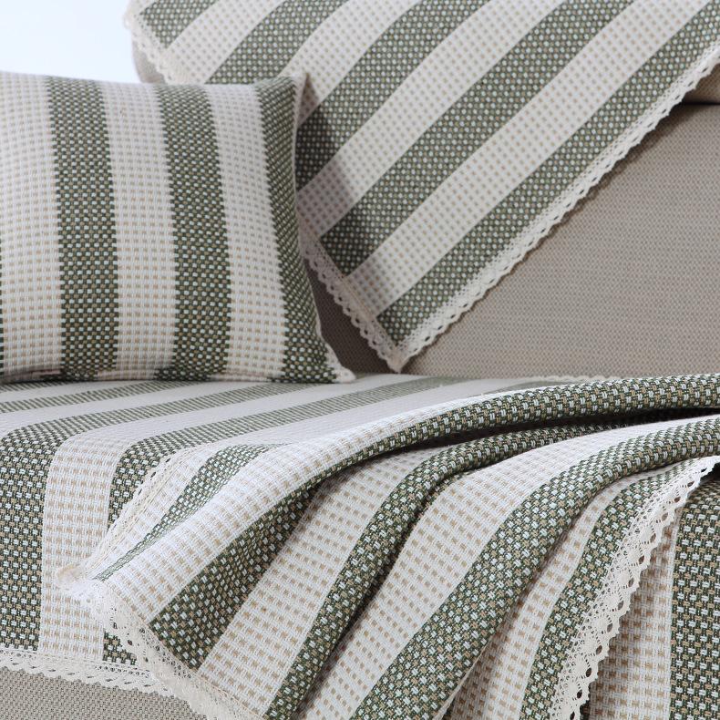 LIANDOU Đệm lót SoFa Mùa hè sofa đệm vải lanh sọc bông vải sofa bìa tựa lưng