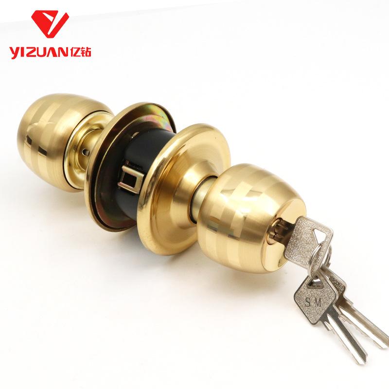 Asabie Vàng thép không gỉ phòng ngủ phổ bóng khóa nhà vệ sinh phòng tắm khóa cửa trong nhà dày khóa