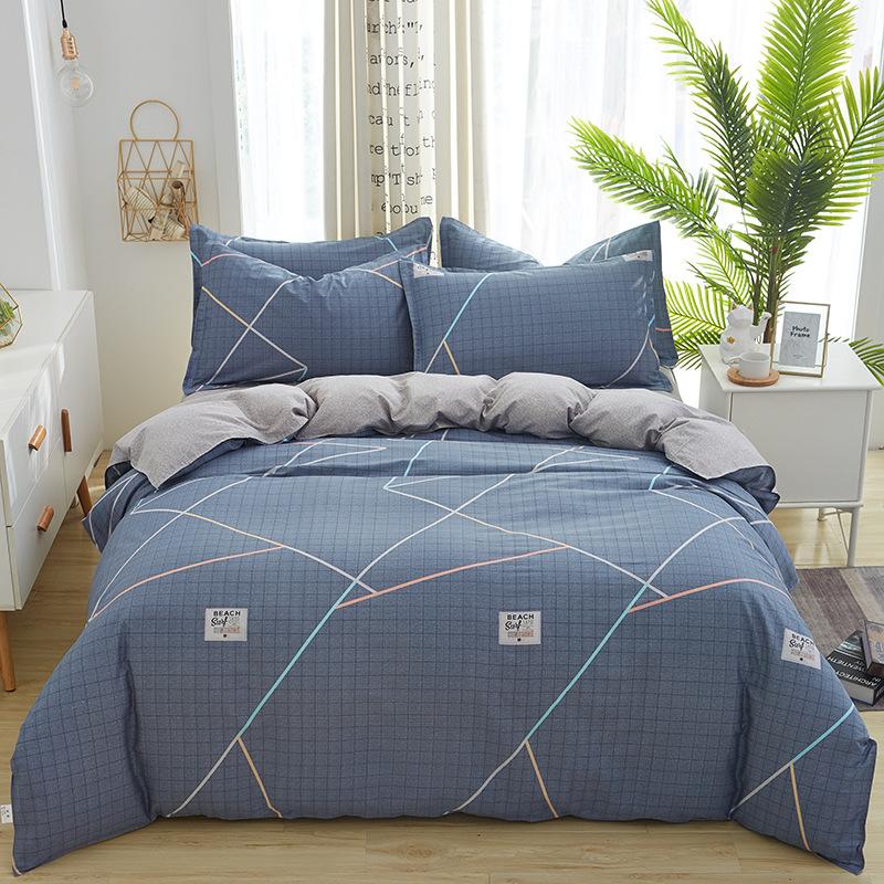 CUIQINGYOU Thị trường đồ bộ Bộ đồ giường bằng vải cotton bốn mảnh