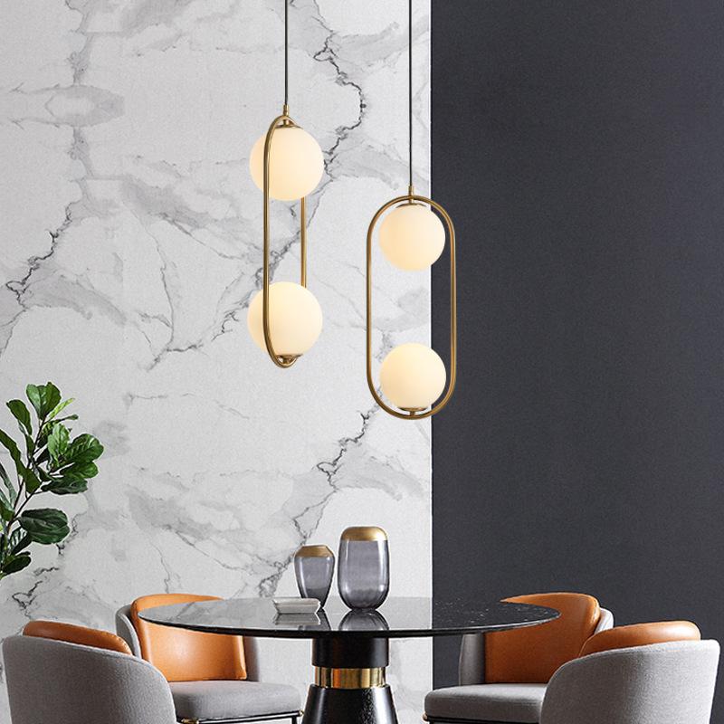 YIDENG Đèn treo trần Đèn chùm thủy tinh Bắc Âu bài hiện đại nhà hàng thanh bàn đơn giản phòng ngủ cá
