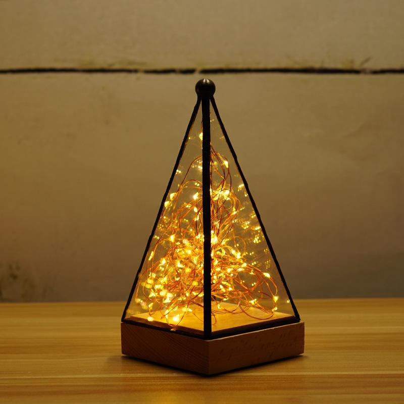 LUDENGJI Đèn bàn Sáng tạo rắn gỗ đêm ánh sáng cây bạc hoa Giáng sinh đèn bàn đèn sinh nhật quà tặng