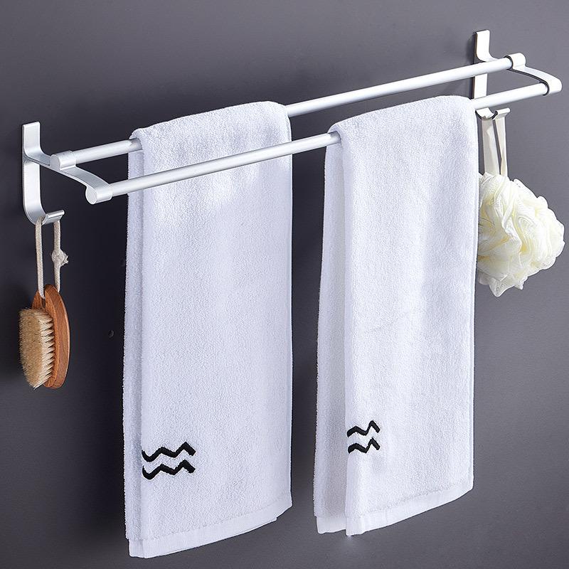 LIUXING Kệ khăn tắm Khăn phòng tắm Giá miễn phí Punch Space Nhôm Double Khăn Bar Nhà vệ sinh Phòng t