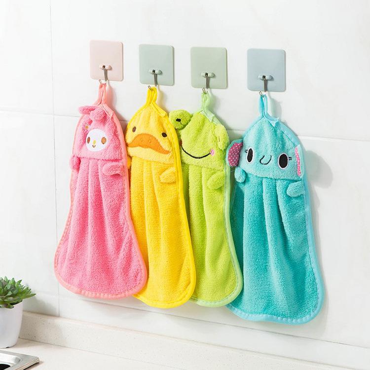 MIAOLINKE khăn lau tay Phim hoạt hình dễ thương khăn san hô nhung khăn bếp cung cấp treo vải rách th