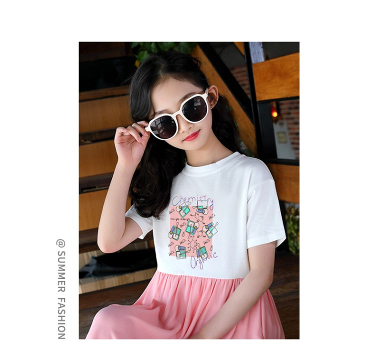 Children's Stitching New Summer Dress of 2019 Korean Edition Girls'Skirt Chiffon Princess Skirt Gi