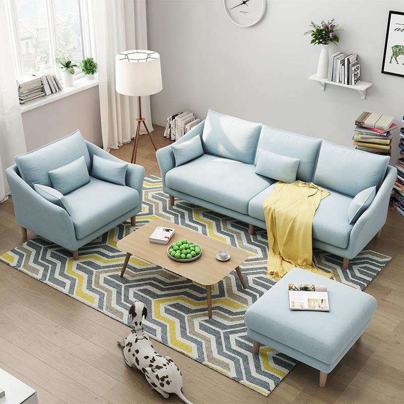 MUJI Ghế Sofa Sofa vải Bắc Âu căn hộ nhỏ hiện đại tối giản phòng khách đôi ba cửa hàng có thể tháo r